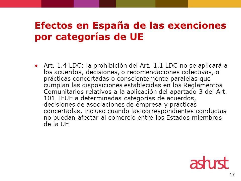 17 Efectos en España de las exenciones por categorías de UE Art. 1.4 LDC: la prohibición del Art. 1.1 LDC no se aplicará a los acuerdos, decisiones, o