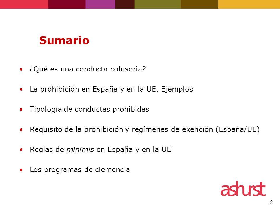 2 Sumario ¿Qué es una conducta colusoria? La prohibición en España y en la UE. Ejemplos Tipología de conductas prohibidas Requisito de la prohibición