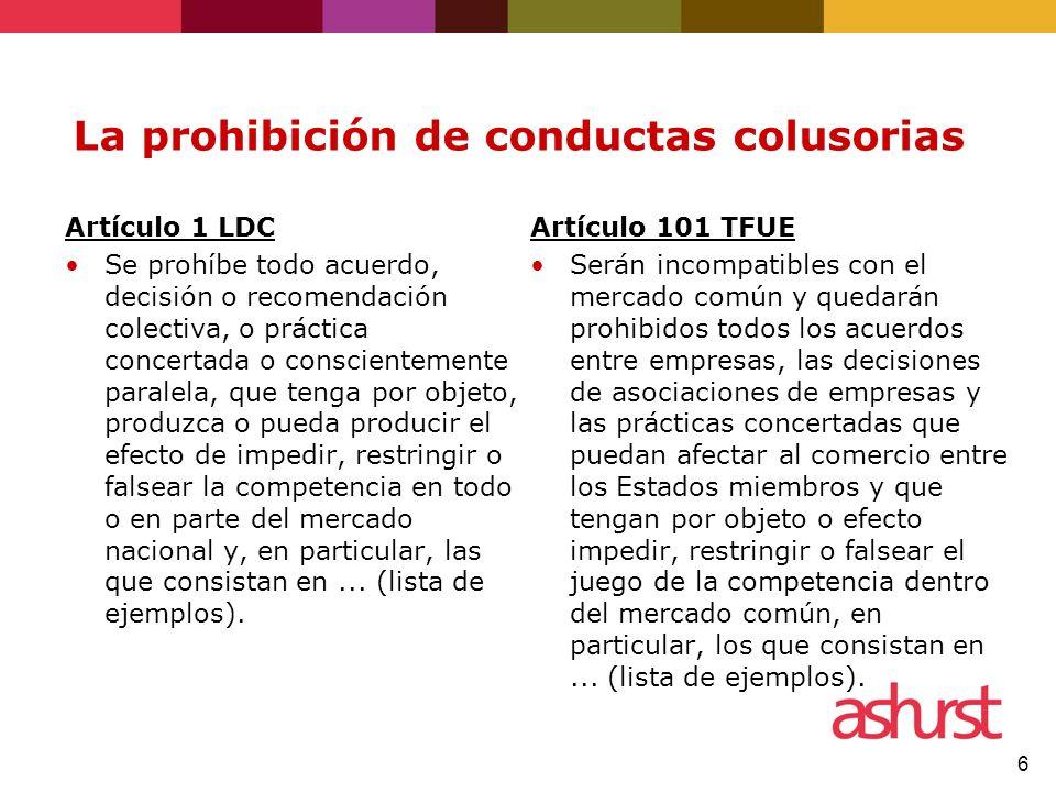 6 La prohibición de conductas colusorias Artículo 1 LDC Se prohíbe todo acuerdo, decisión o recomendación colectiva, o práctica concertada o conscient