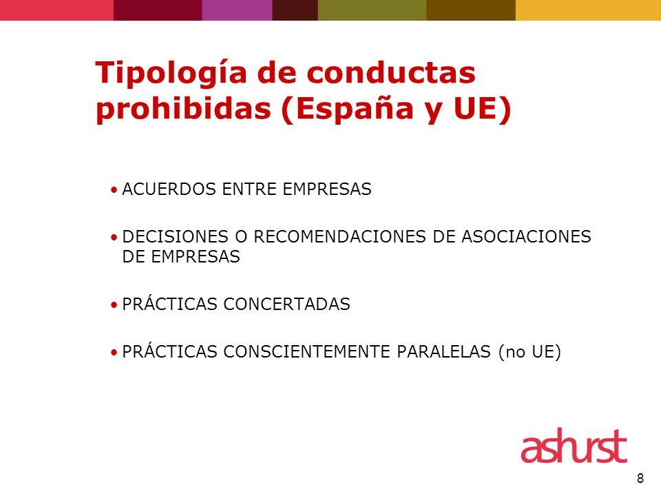 8 Tipología de conductas prohibidas (España y UE) ACUERDOS ENTRE EMPRESAS DECISIONES O RECOMENDACIONES DE ASOCIACIONES DE EMPRESAS PRÁCTICAS CONCERTADAS PRÁCTICAS CONSCIENTEMENTE PARALELAS (no UE)