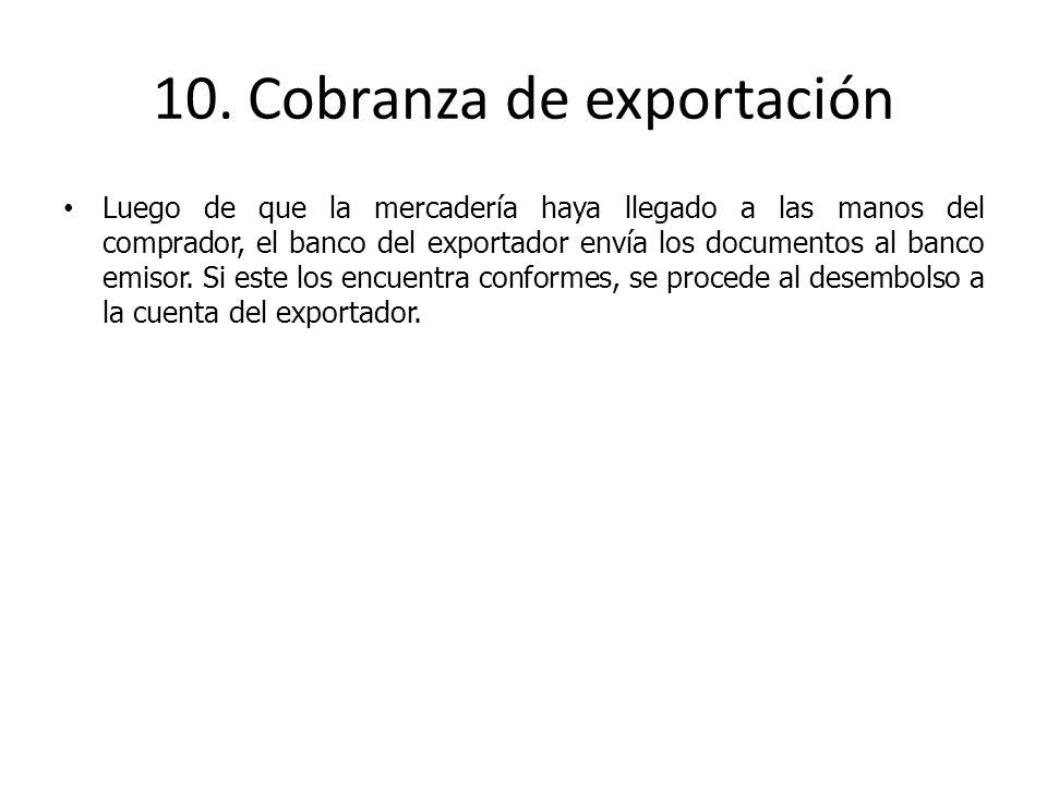 Luego de que la mercadería haya llegado a las manos del comprador, el banco del exportador envía los documentos al banco emisor. Si este los encuentra