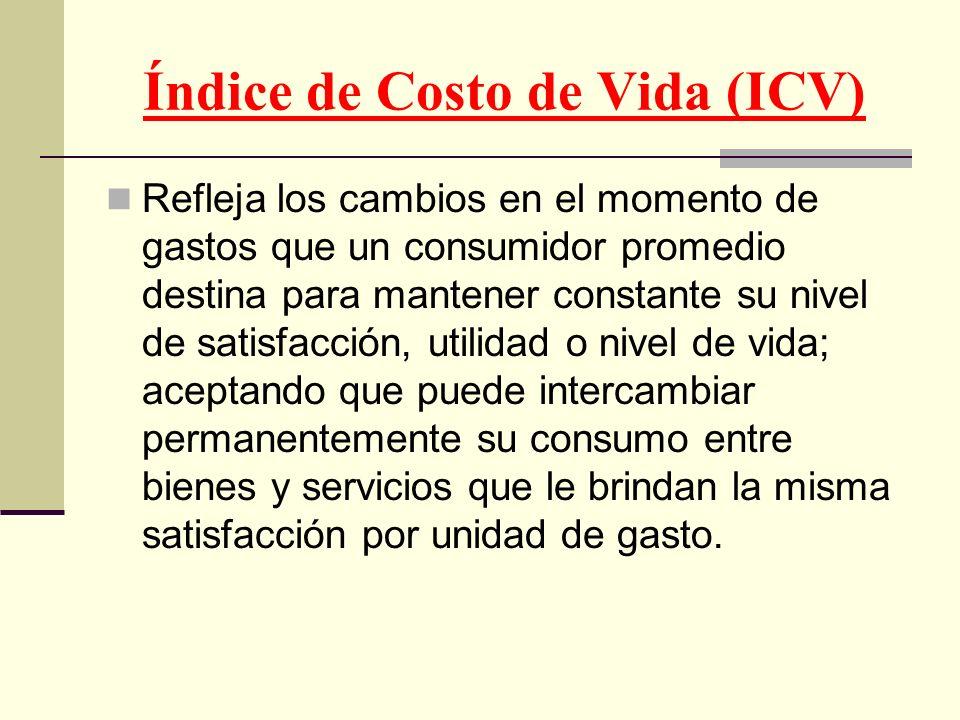 Índice de Costo de Vida (ICV) Refleja los cambios en el momento de gastos que un consumidor promedio destina para mantener constante su nivel de satis
