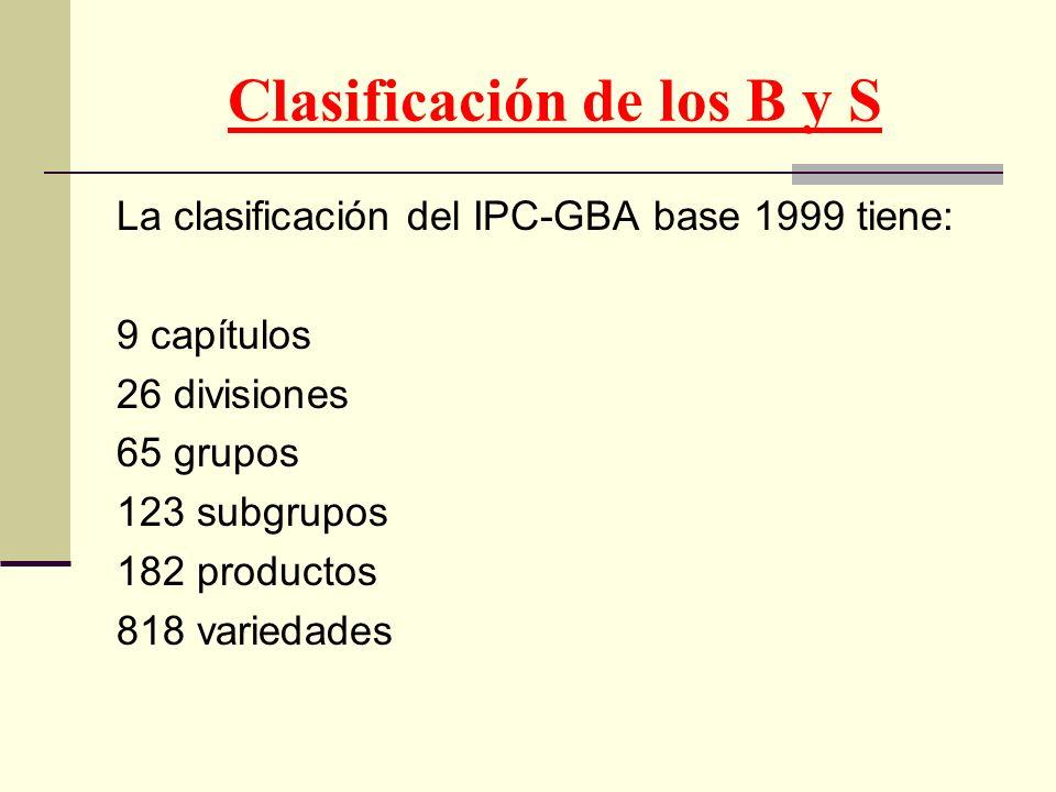 Clasificación de los B y S La clasificación del IPC-GBA base 1999 tiene: 9 capítulos 26 divisiones 65 grupos 123 subgrupos 182 productos 818 variedade