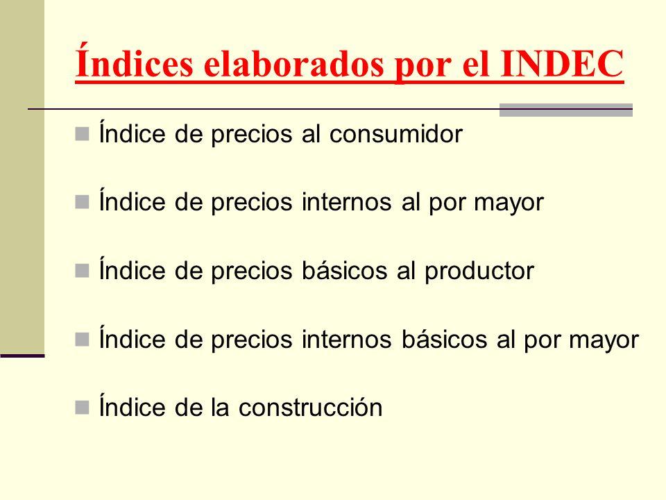 Índices elaborados por el INDEC Índice de precios al consumidor Índice de precios internos al por mayor Índice de precios básicos al productor Índice