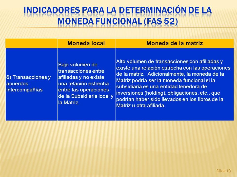 Slide 10 Moneda localMoneda de la matriz 6) Transacciones y acuerdos intercompañías Bajo volumen de transacciones entre afiliadas y no existe una rela