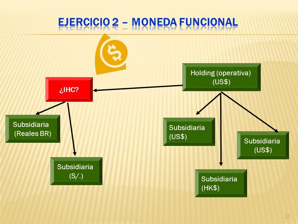 Holding (operativa) (US$) Subsidiaria (US$) Subsidiaria (US$) Subsidiaria (HK$) Subsidiaria (Reales BR) Subsidiaria (S/.) ¿IHC? 17