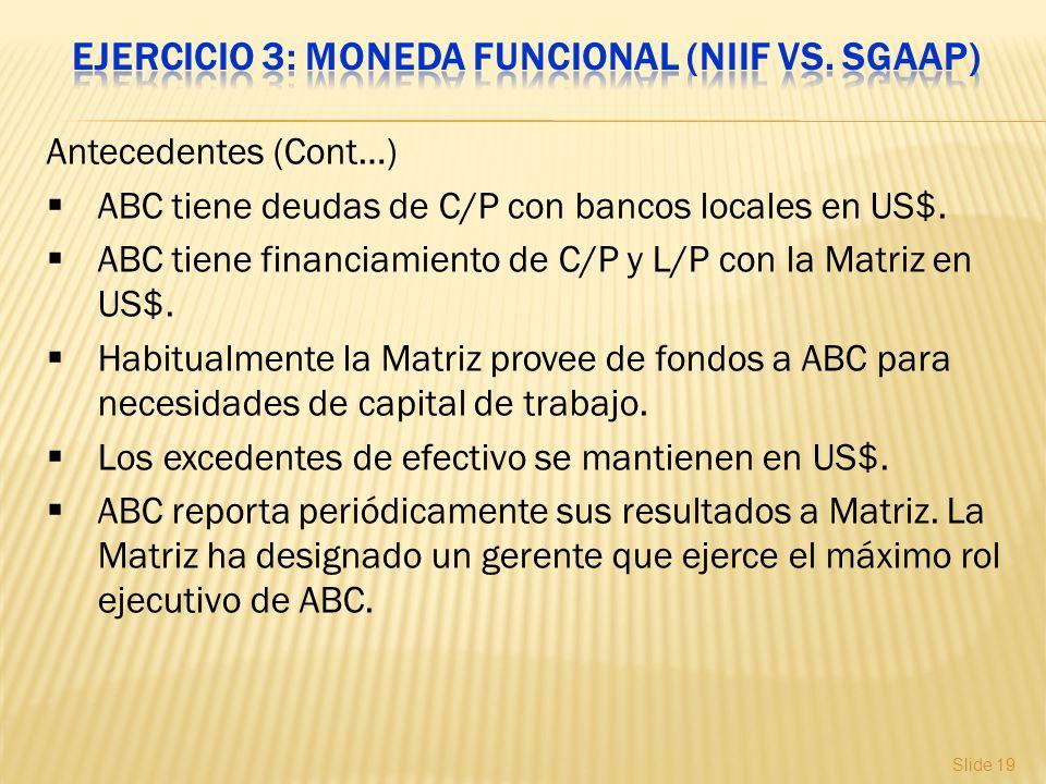 Slide 19 Antecedentes (Cont…) ABC tiene deudas de C/P con bancos locales en US$. ABC tiene financiamiento de C/P y L/P con la Matriz en US$. Habitualm