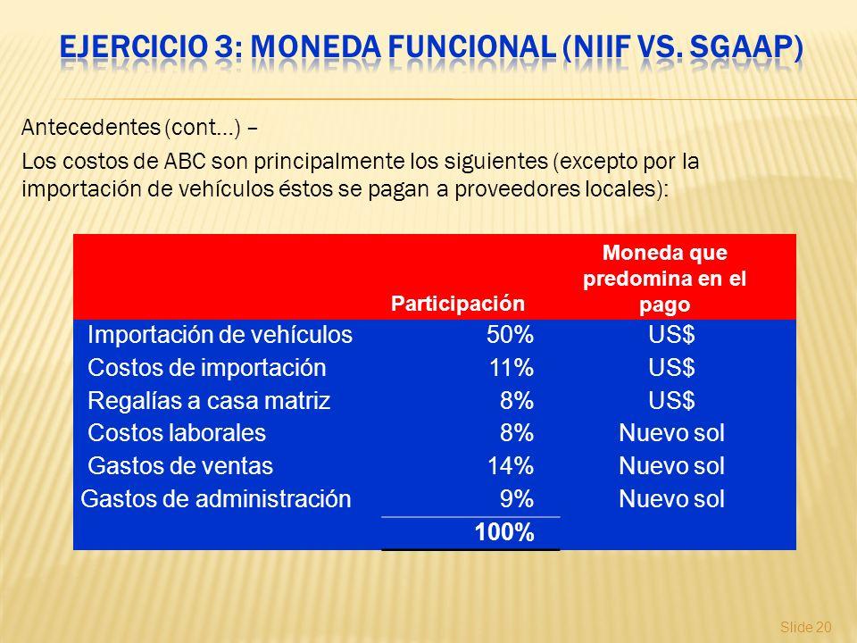 Slide 20 Antecedentes (cont…) – Los costos de ABC son principalmente los siguientes (excepto por la importación de vehículos éstos se pagan a proveedo