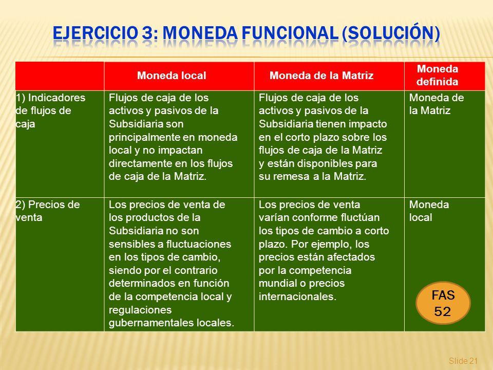 Slide 21 Moneda localMoneda de la Matriz Moneda definida 1) Indicadores de flujos de caja Flujos de caja de los activos y pasivos de la Subsidiaria so