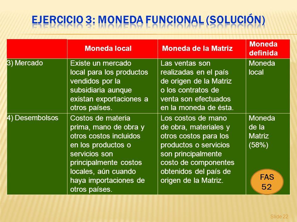 Slide 22 Moneda localMoneda de la Matriz Moneda definida 3) Mercado Existe un mercado local para los productos vendidos por la subsidiaria aunque exis