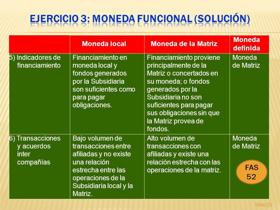 Slide 23 Moneda localMoneda de la Matriz Moneda definida 5) Indicadores de financiamiento Financiamiento en moneda local y fondos generados por la Sub