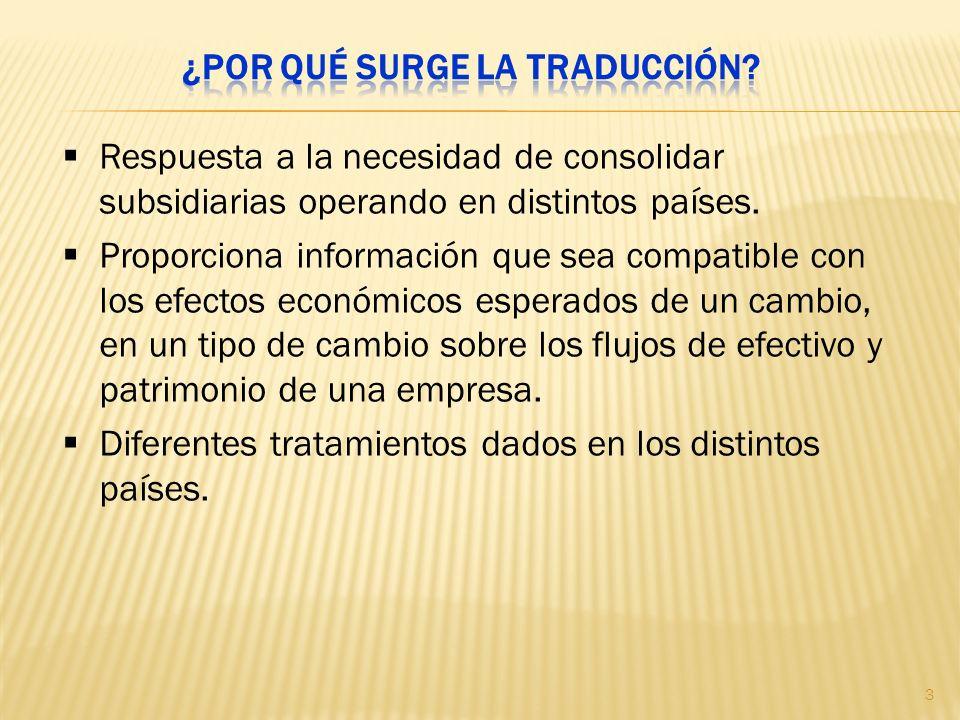 Respuesta a la necesidad de consolidar subsidiarias operando en distintos países. Proporciona información que sea compatible con los efectos económico