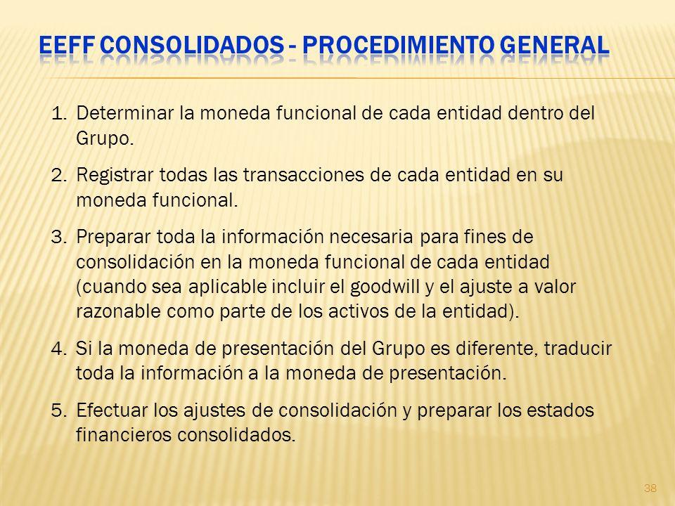 1.Determinar la moneda funcional de cada entidad dentro del Grupo. 2.Registrar todas las transacciones de cada entidad en su moneda funcional. 3.Prepa