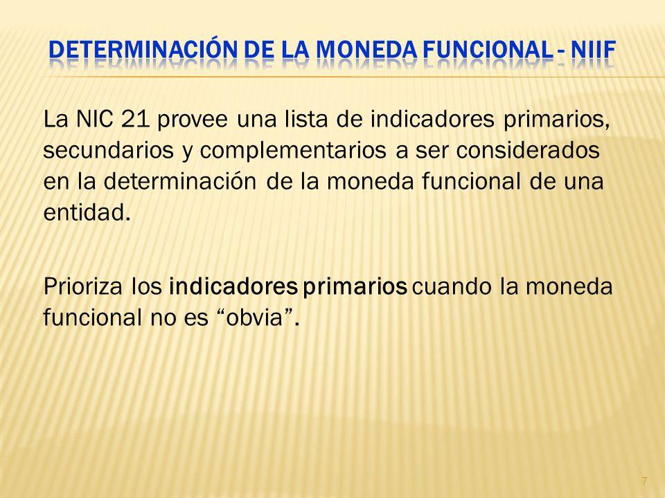 La NIC 21 provee una lista de indicadores primarios, secundarios y complementarios a ser considerados en la determinación de la moneda funcional de un
