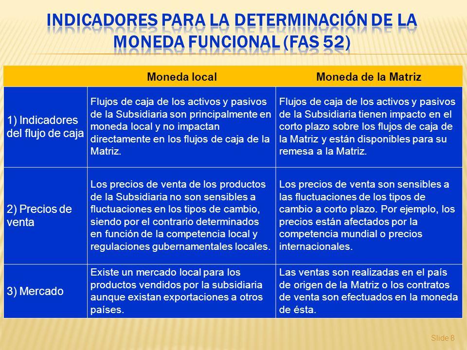 Slide 8 Moneda localMoneda de la Matriz 1) Indicadores del flujo de caja Flujos de caja de los activos y pasivos de la Subsidiaria son principalmente
