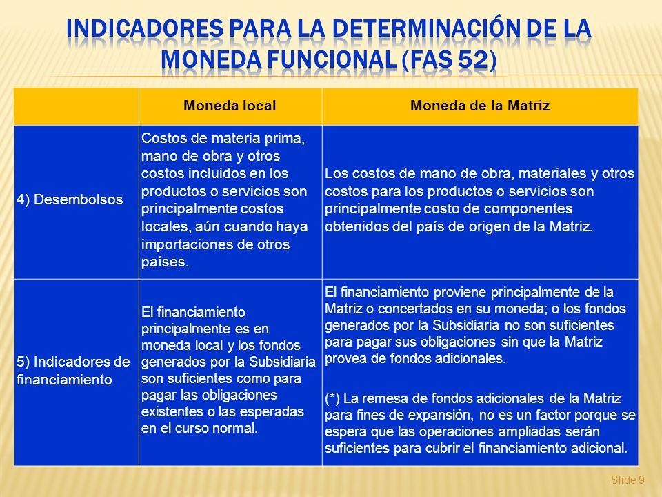 Slide 9 Moneda localMoneda de la Matriz 4) Desembolsos Costos de materia prima, mano de obra y otros costos incluidos en los productos o servicios son