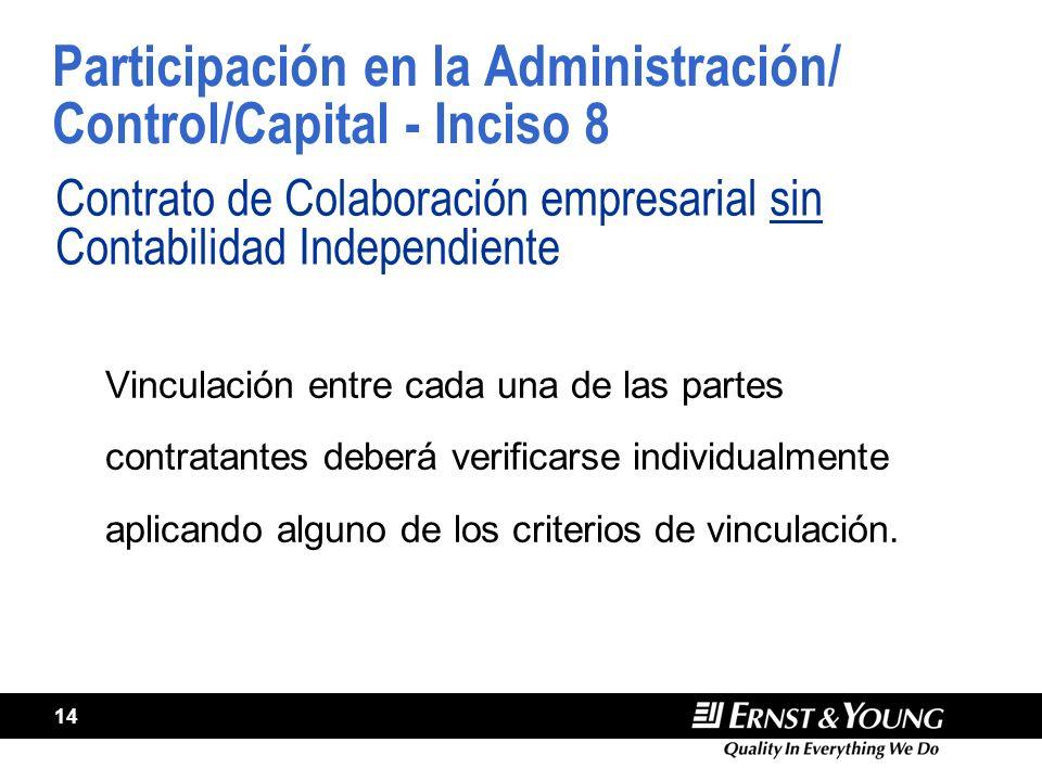 14 Participación en la Administración/ Control/Capital - Inciso 8 Contrato de Colaboración empresarial sin Contabilidad Independiente Vinculación entr
