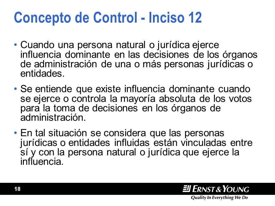 18 Concepto de Control - Inciso 12 Cuando una persona natural o jurídica ejerce influencia dominante en las decisiones de los órganos de administración de una o más personas jurídicas o entidades.