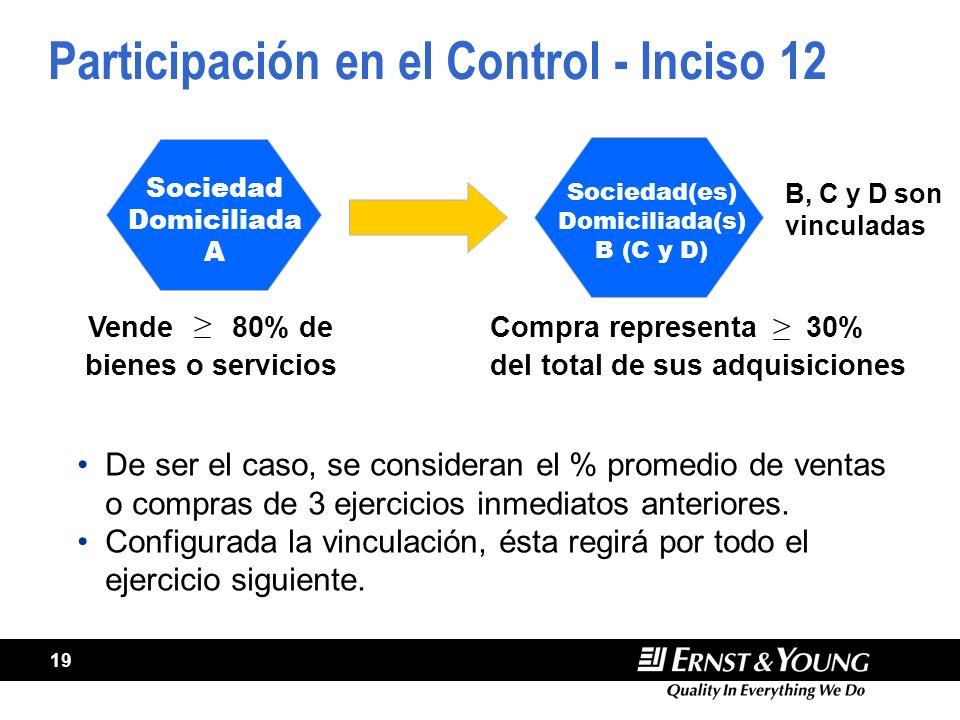 19 Participación en el Control - Inciso 12 Vende80% de bienes o servicios > Compra representa 30% > del total de sus adquisiciones De ser el caso, se consideran el % promedio de ventas o compras de 3 ejercicios inmediatos anteriores.