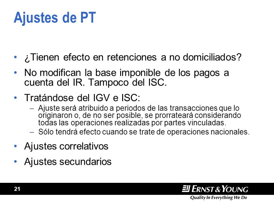 21 Ajustes de PT ¿Tienen efecto en retenciones a no domiciliados.