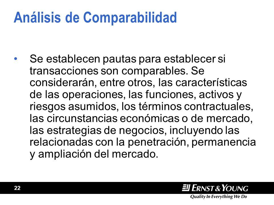 22 Análisis de Comparabilidad Se establecen pautas para establecer si transacciones son comparables. Se considerarán, entre otros, las características