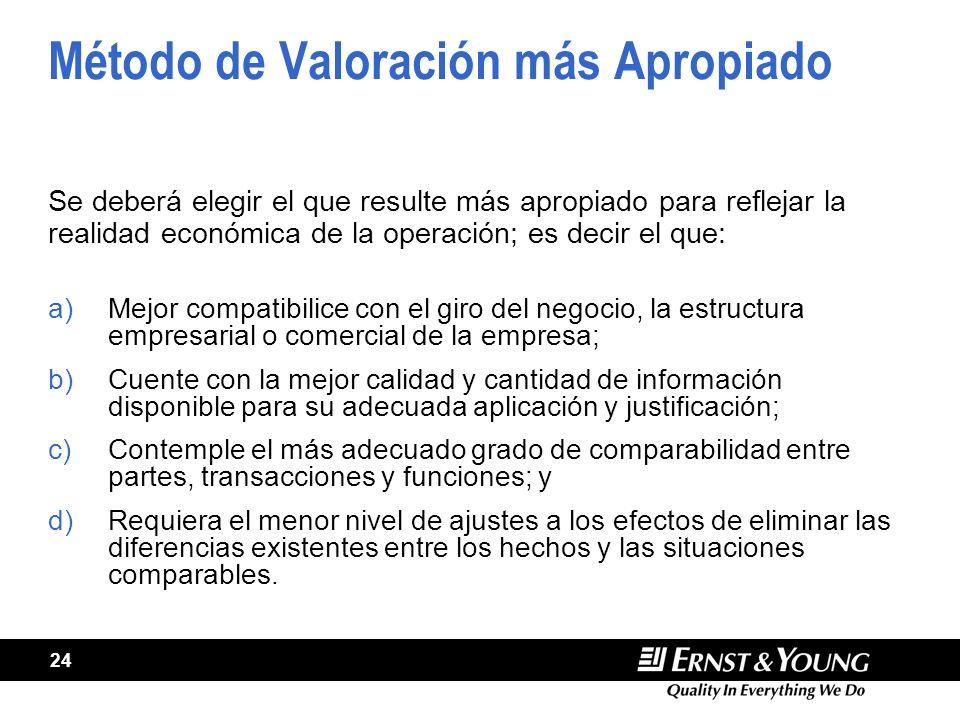 24 Método de Valoración más Apropiado Se deberá elegir el que resulte más apropiado para reflejar la realidad económica de la operación; es decir el q