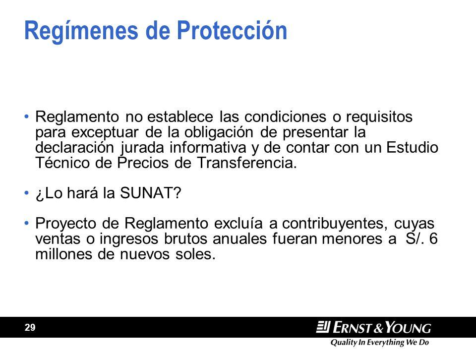 29 Regímenes de Protección Reglamento no establece las condiciones o requisitos para exceptuar de la obligación de presentar la declaración jurada informativa y de contar con un Estudio Técnico de Precios de Transferencia.