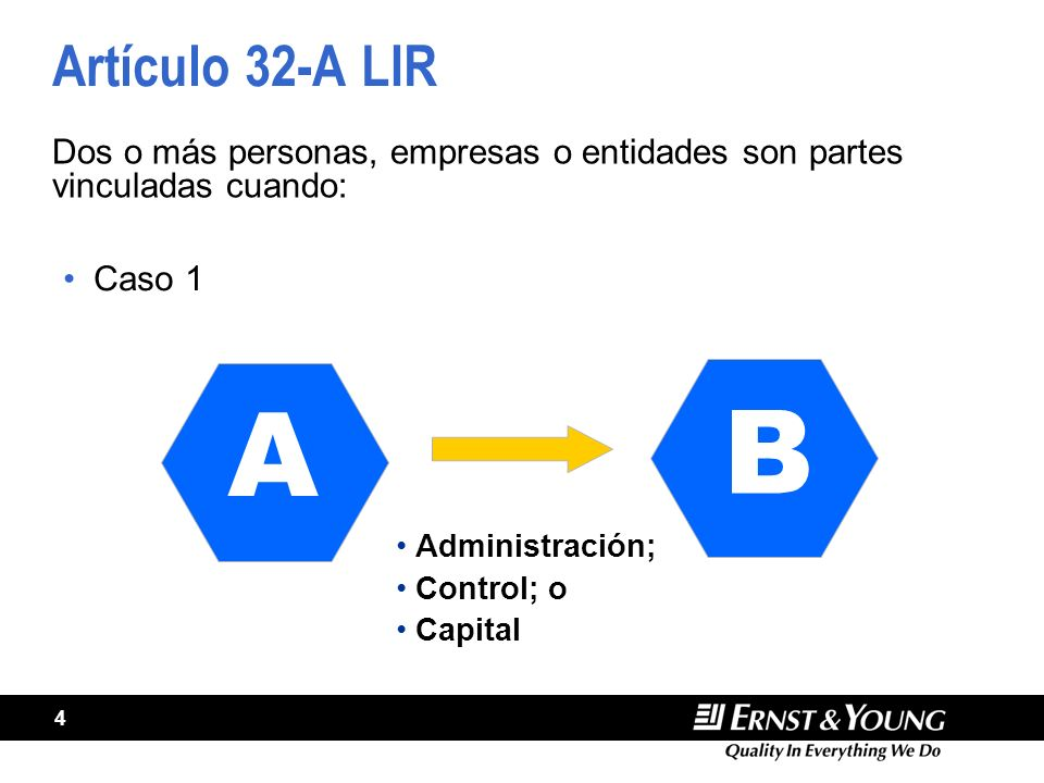 4 Artículo 32-A LIR Caso 1 Dos o más personas, empresas o entidades son partes vinculadas cuando: A B Administración; Control; o Capital