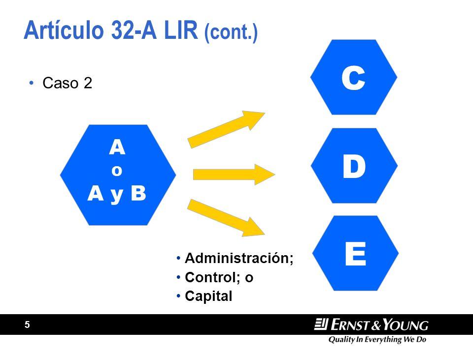 5 Artículo 32-A LIR (cont.) Caso 2 A O A y B C Administración; Control; o Capital D E