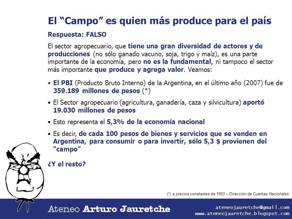 El Campo es quien más produce para el país Respuesta: FALSO El sector agropecuario, que tiene una gran diversidad de actores y de producciones (no sól