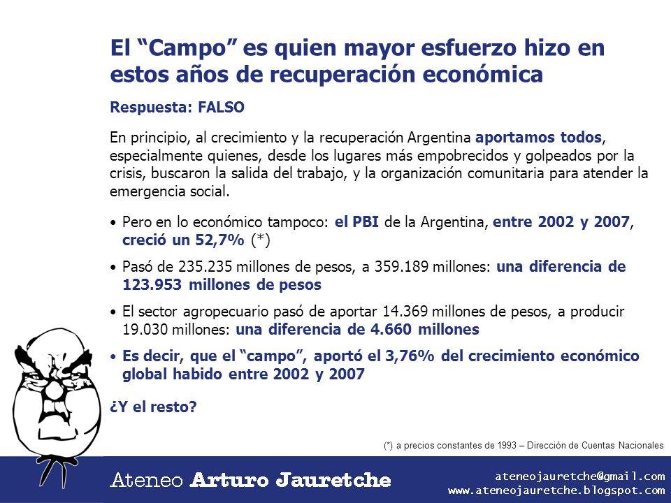 El Campo es quien mayor esfuerzo hizo en estos años de recuperación económica Respuesta: FALSO En principio, al crecimiento y la recuperación Argentin