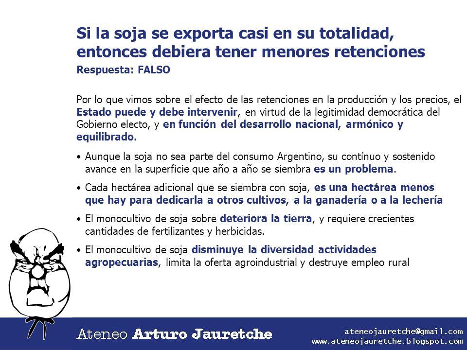Si la soja se exporta casi en su totalidad, entonces debiera tener menores retenciones Respuesta: FALSO Por lo que vimos sobre el efecto de las retenc