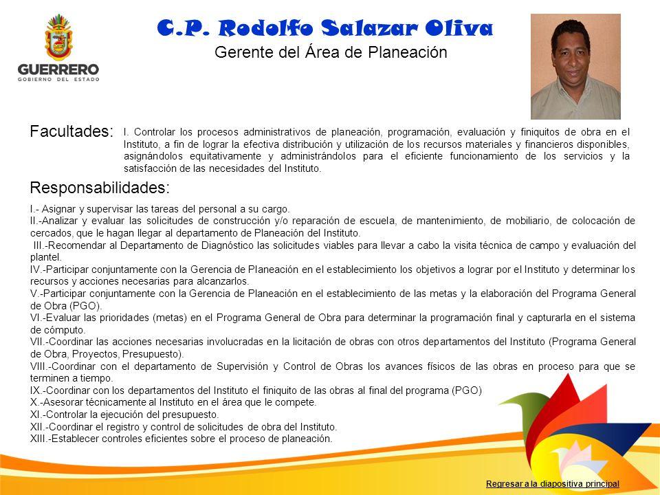Facultades: Responsabilidades: Regresar a la diapositiva principal C.P. Rodolfo Salazar Oliva I. Controlar los procesos administrativos de planeación,