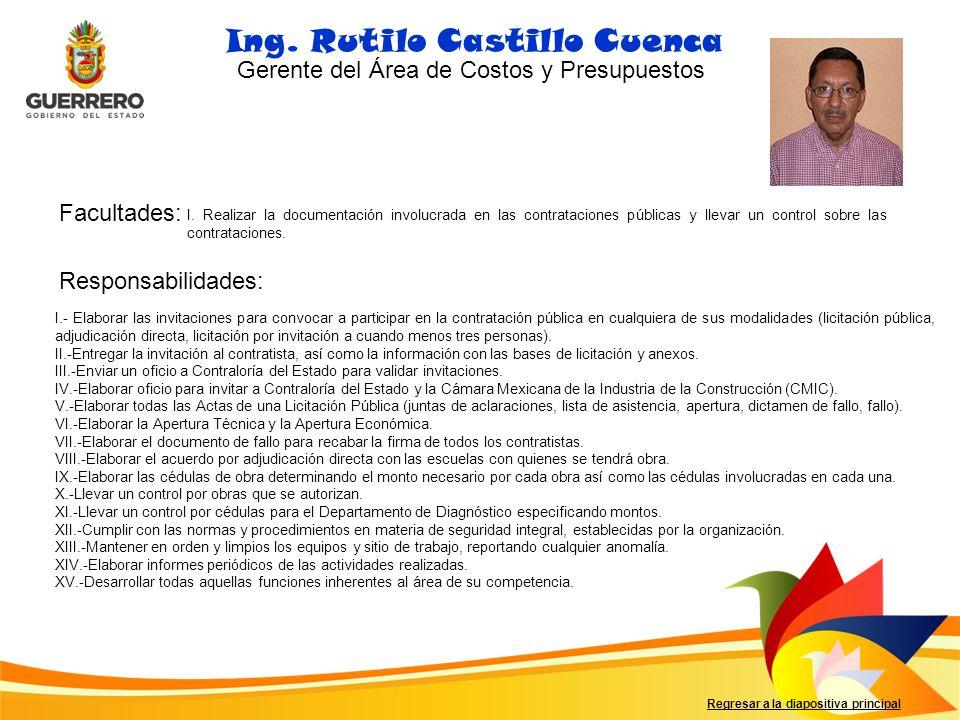 Facultades: Responsabilidades: Regresar a la diapositiva principal Ing. Rutilo Castillo Cuenca I. Realizar la documentación involucrada en las contrat