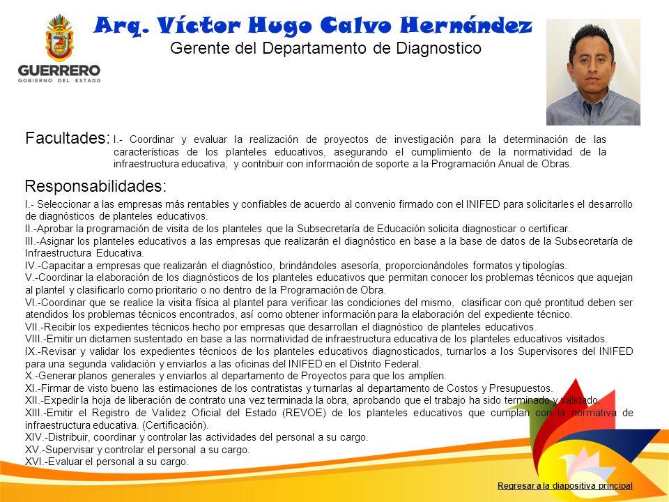 Facultades: Responsabilidades: Arq. Víctor Hugo Calvo Hernández Gerente del Departamento de Diagnostico I.- Coordinar y evaluar la realización de proy