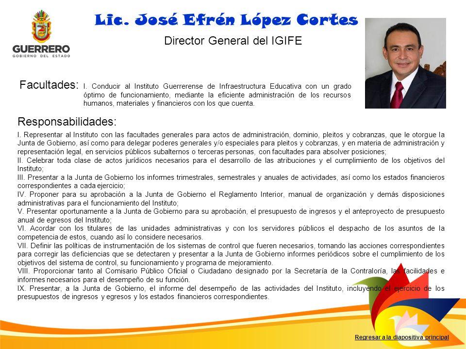 Facultades: Responsabilidades: Lic. José Efrén López Cortes Director General del IGIFE I. Conducir al Instituto Guerrerense de Infraestructura Educati