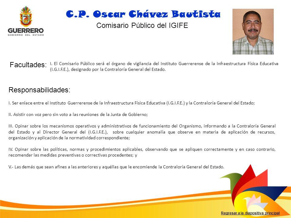 Facultades: Responsabilidades: Regresar a la diapositiva principal C.P. Oscar Chávez Bautista Comisario Público del IGIFE I. El Comisario Público será