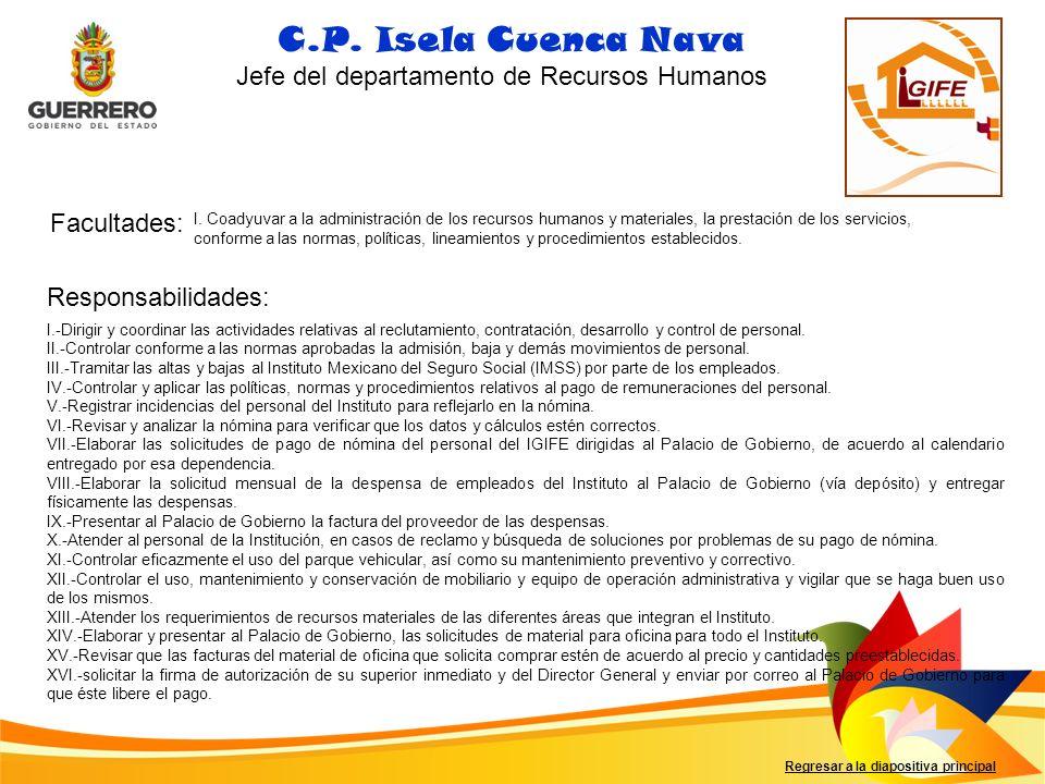 Facultades: Responsabilidades: C.P. Isela Cuenca Nava Jefe del departamento de Recursos Humanos I. Coadyuvar a la administración de los recursos human