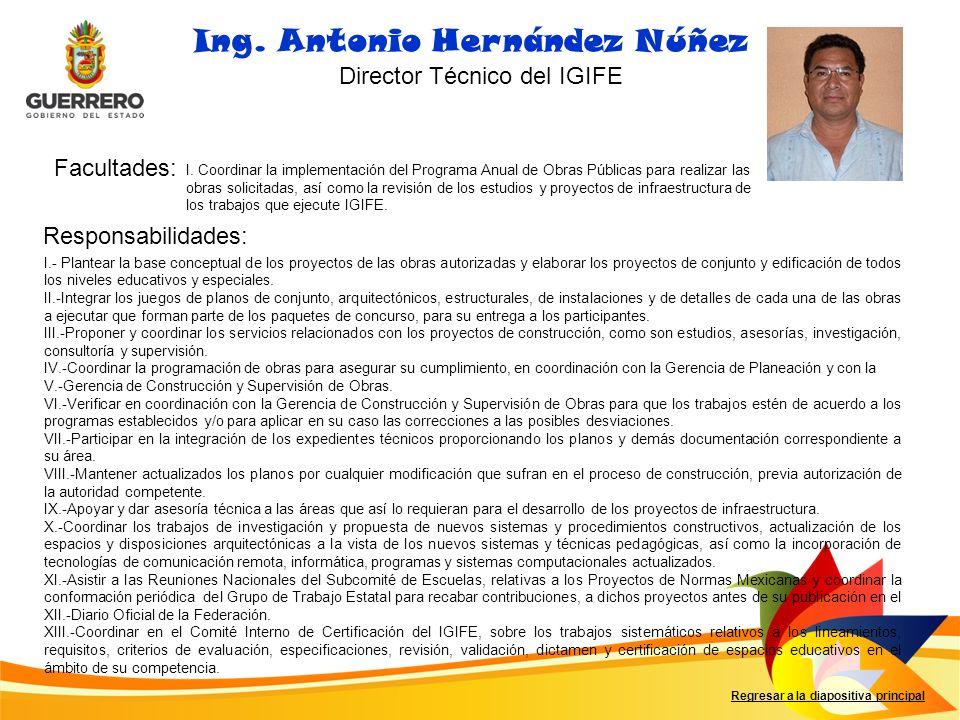 Facultades: Responsabilidades: Ing. Antonio Hernández Núñez Director Técnico del IGIFE I. Coordinar la implementación del Programa Anual de Obras Públ