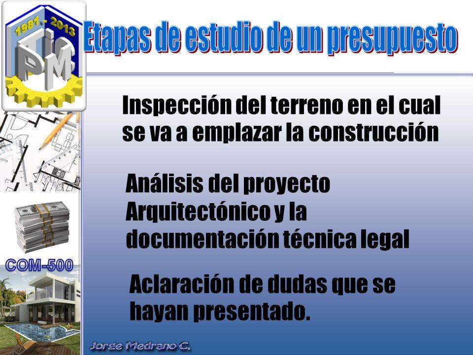 Inspección del terreno en el cual se va a emplazar la construcción Análisis del proyecto Arquitectónico y la documentación técnica legal Aclaración de