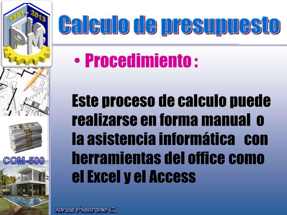 Este proceso de calculo puede realizarse en forma manual o la asistencia informática con herramientas del office como el Excel y el Access Procedimien