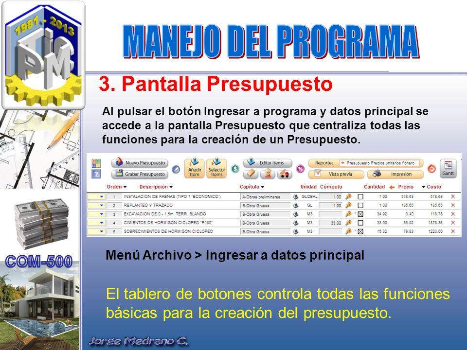3. Pantalla Presupuesto Al pulsar el botón Ingresar a programa y datos principal se accede a la pantalla Presupuesto que centraliza todas las funcione
