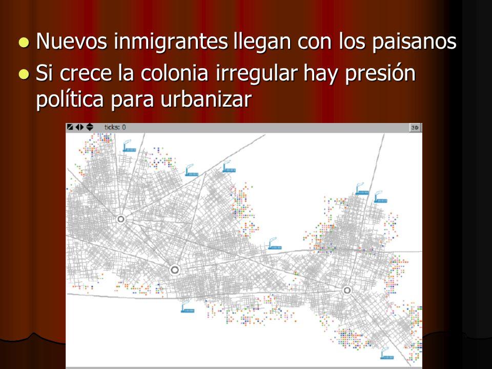 Nuevos inmigrantes llegan con los paisanos Nuevos inmigrantes llegan con los paisanos Si crece la colonia irregular hay presión política para urbaniza