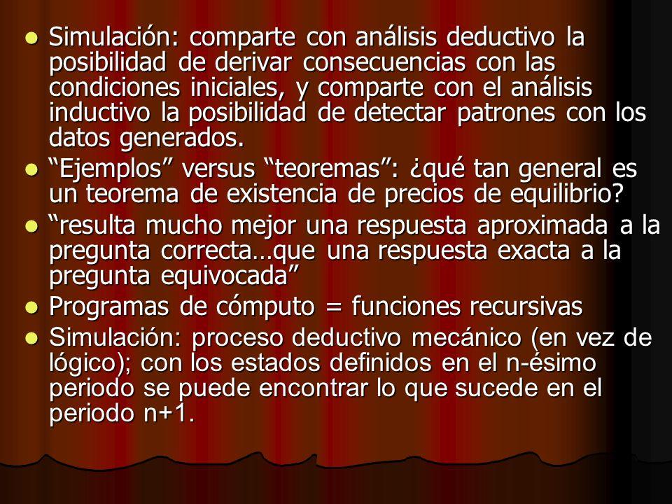 Simulación: comparte con análisis deductivo la posibilidad de derivar consecuencias con las condiciones iniciales, y comparte con el análisis inductiv