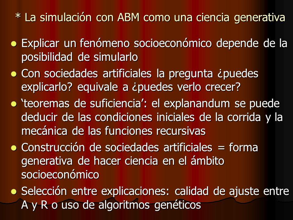 * La simulación con ABM como una ciencia generativa Explicar un fenómeno socioeconómico depende de la posibilidad de simularlo Explicar un fenómeno so