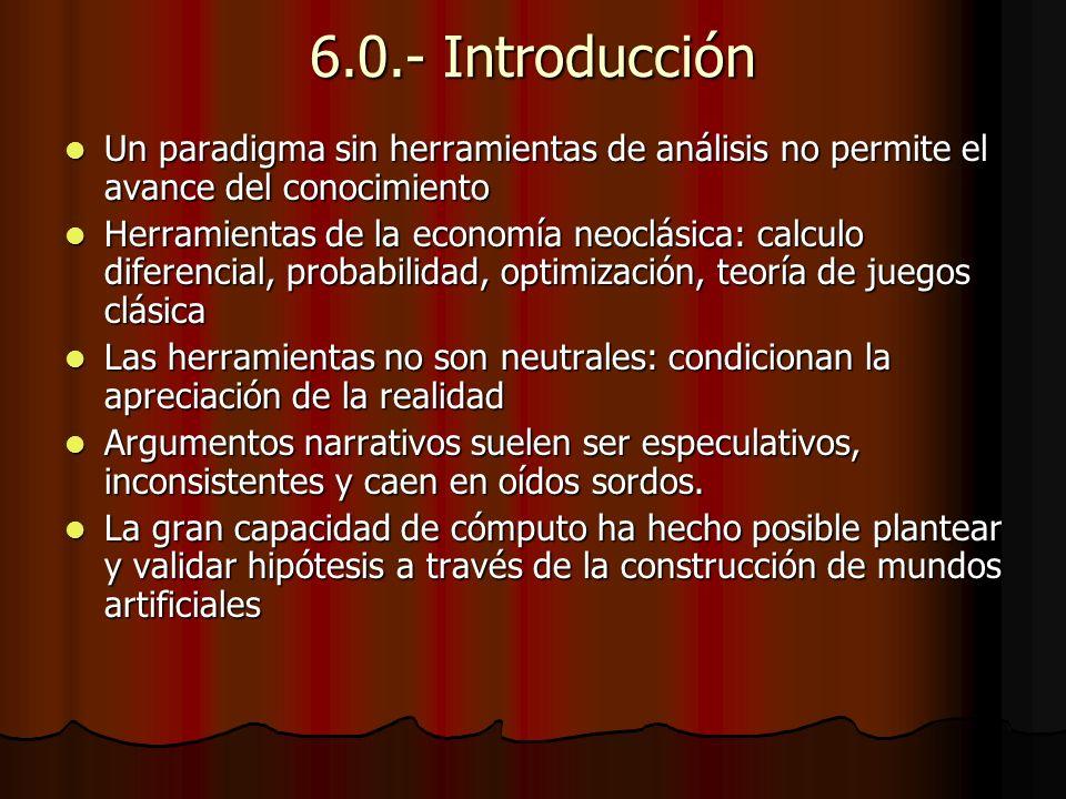 Sexo e instituciones sociales en Sugarscape Modelo de Sugarscape en sección Community Models de Netlogo elaborado por Owen Densmore, 2003, http://backspaces.net/Models/sugarscape.html Modelo de Sugarscape en sección Community Models de Netlogo elaborado por Owen Densmore, 2003, http://backspaces.net/Models/sugarscape.html http://backspaces.net/Models/sugarscape.html Experimentos 5a (se reduce edad máxima para procrear), 5b (se reduce requerimiento de riqueza) y 5c (ambos factores) analizan efecto de sexo sobre composición genética Experimentos 5a (se reduce edad máxima para procrear), 5b (se reduce requerimiento de riqueza) y 5c (ambos factores) analizan efecto de sexo sobre composición genética Visión promedio se incrementa y metabolismo se reduce Visión promedio se incrementa y metabolismo se reduce Ciclos demográficos aparecen con el sexo (comparar con experimento 2) Ciclos demográficos aparecen con el sexo (comparar con experimento 2) (i) composición genética(ii) Ciclos demográficos (i) composición genética(ii) Ciclos demográficos