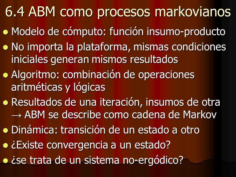 6.4 ABM como procesos markovianos Modelo de cómputo: función insumo-producto Modelo de cómputo: función insumo-producto No importa la plataforma, mism