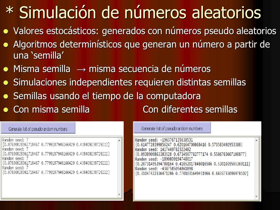 * Simulación de números aleatorios Valores estocásticos: generados con números pseudo aleatorios Valores estocásticos: generados con números pseudo al
