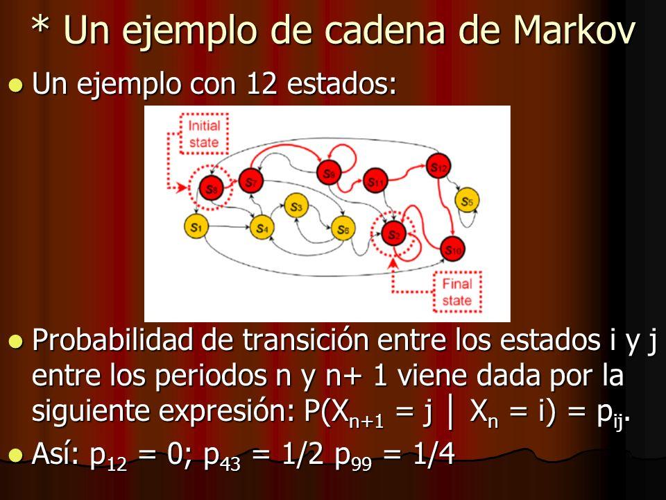 * Un ejemplo de cadena de Markov Un ejemplo con 12 estados: Un ejemplo con 12 estados: Probabilidad de transición entre los estados i y j entre los pe
