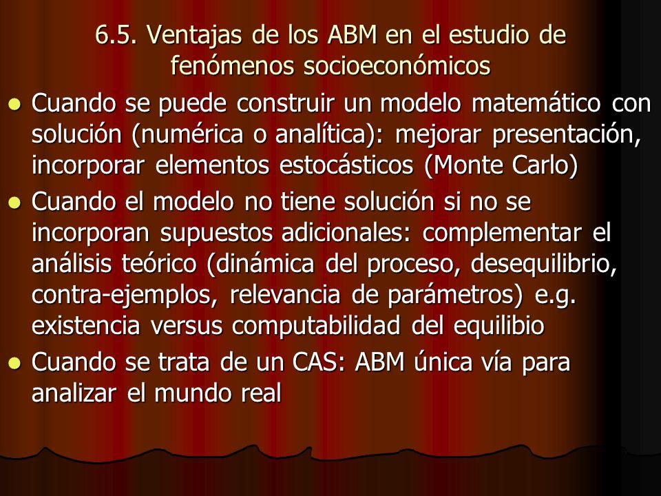 6.5. Ventajas de los ABM en el estudio de fenómenos socioeconómicos Cuando se puede construir un modelo matemático con solución (numérica o analítica)